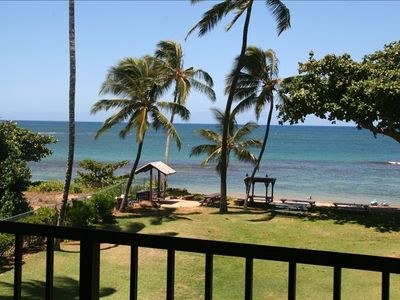 Haleiwa condo rental - Your view from the living room and Lanai Truly a Tropical Oasis