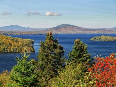 Rangeley Lake in fall, looking towards Bald Mountain