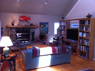 Beaver Island house rental - stone fireplace in living room