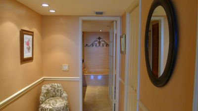 Miami condo rental - To master bathroom, ensuite. Walk-in closet.