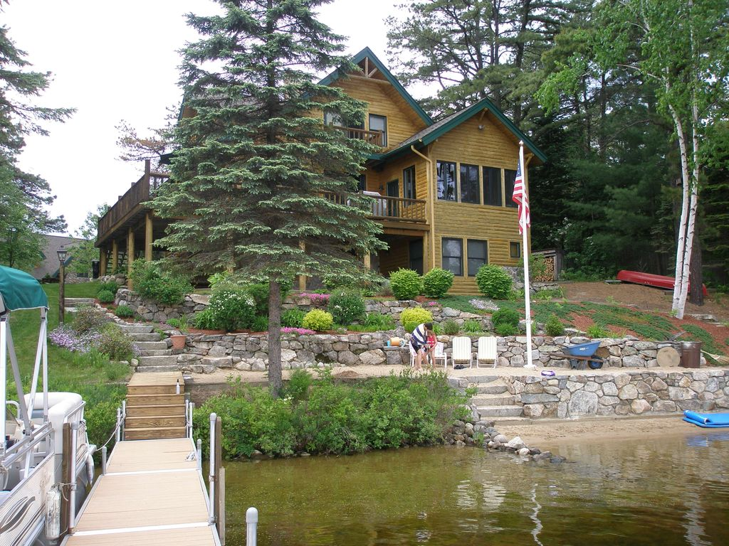Luxury Log Cabin On Ossipee Lake With Sandy Beach And