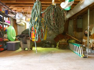 Basement - life jackets, paddles, water toys.