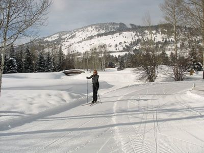 Complimentary trail pass on our Nordic trail system. Lessons & gear available.