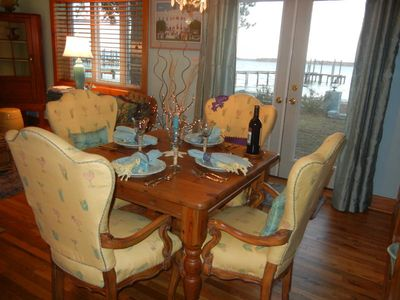 Dining table with view out the French doors to the river.