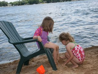 Sandy beach area for the kids - Sister Lakes cottage vacation rental photo