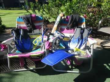 We supply Beach Chairs, Umbrellas, Coolers & Snorkel gear for your use.