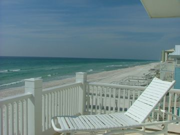 WOW! Beach/Gulf of Mexico from master bedroom deck. Chairs high so you can see!