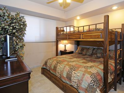 3rd bedroom has full-over-king bunkbed