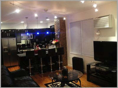 Queens apartment rental - Living room and Kitchen