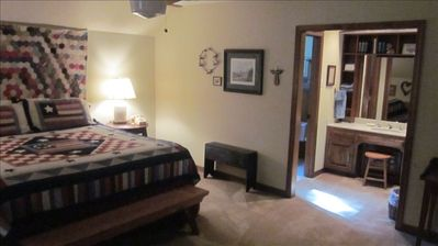 Upstairs master with king bed and  large twin bed.