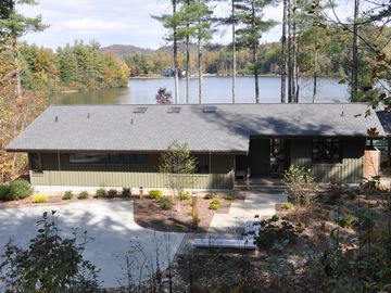 Brevard house rental - Frontside of house with lake and mountain views in background