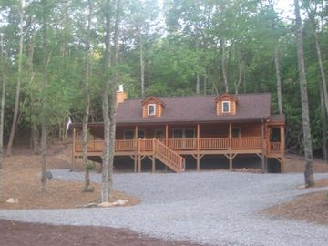 Black Mountain cabin rental - Cabin Front View Facing Pond