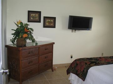 Master bedroom decor with wallmounted flatscreen T.V.