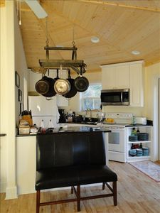 loaded kitchen (no cuisanart or blender) w access to dining on porch for 6 to 8