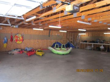 double car garage with two kayaks for your enjoyment