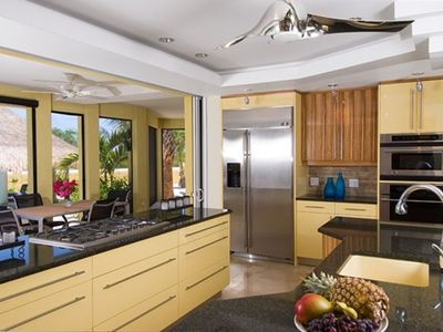Pelican Vista Kitchen, opens fully to outdoors by sliding pocket doors into wall