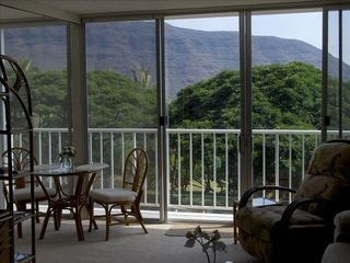 Makaha condo photo - Look out at the mountain range from the living room.