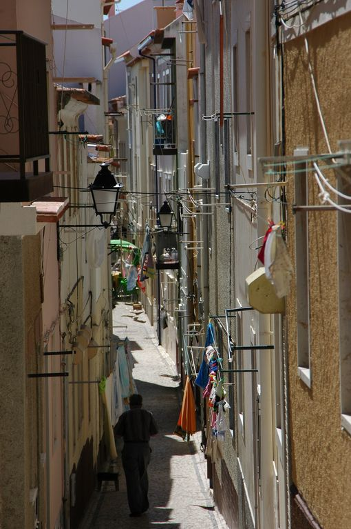 Narrow streets in Nazare centre