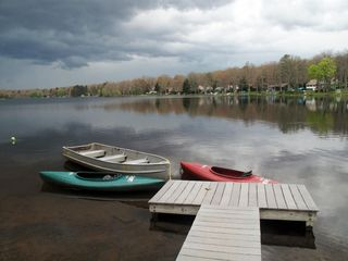 Penn Lake cottage photo - Rowboat and 2 Kayaks - Private Dock
