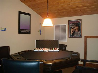 Poker Table in Loft with poker chips included. Perfect for late night games.