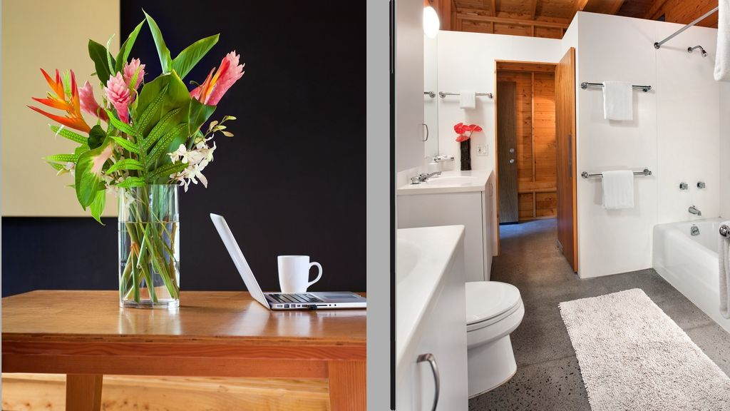 left-free wifi, right private bath each bedroom
