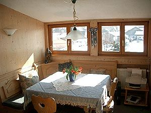 Dining room with mountain view