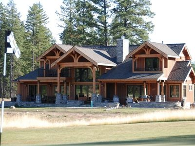 Photo of house looking across 14th fairway.  Perfect Seattle Corporate Retreat