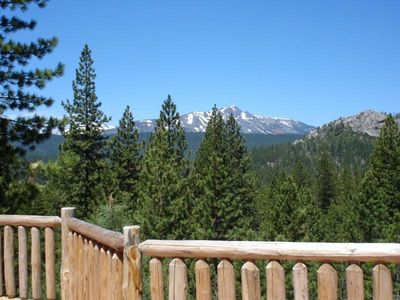View of the three mountains, glimpse of So. Lake Tahoe Golf Course fr deck