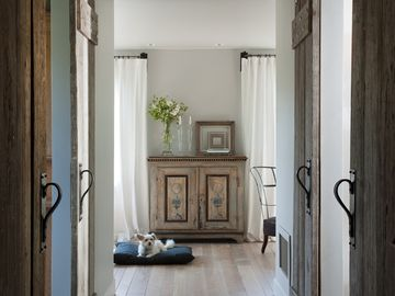 Napa house rental - Entry Hallway with custom recycled wood barn doors.