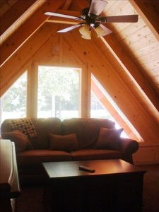 Cozy loft with leather sleeper sofa,