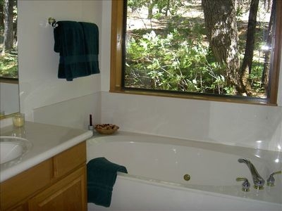 Enjoy the King-sized tub with forest views