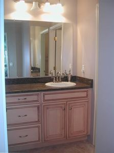 Master bathroom with granite countertop