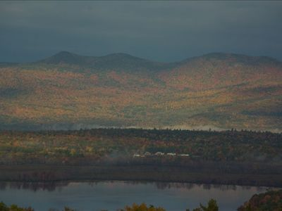 View of Stunning Fall Foliage - Lake & Mountain