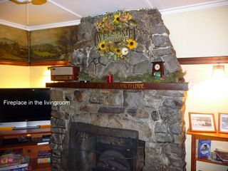 Seven Springs cabin photo - Stone Fireplace and Oil Wall Murals from 1930's