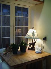 Taos house photo - Iron moose lamp enjoys his kitchen corner