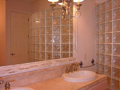 Master Bath with glass tile block shower