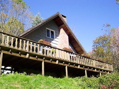 Chalet offers panoramic views from huge wrap-around deck.