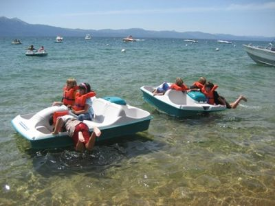 Paddle boat rentals at Round Hill Beach are an adventurous, fun experience.