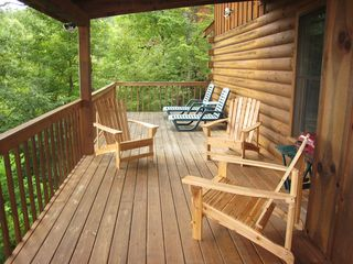Gatlinburg cabin photo - Part of this deck is covered and part is open.