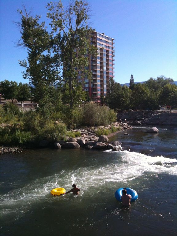 Inner tubes&kayaks available for rent across from our building, pictured at rear