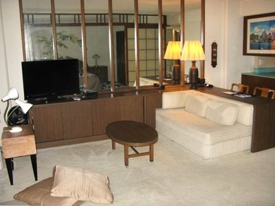 Living area - Features 37 inch LCD TV, free wireless internet and great stereo!