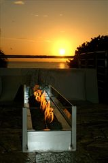 Roatan hotel photo - Fire over fire chilling by the firepit at sunset