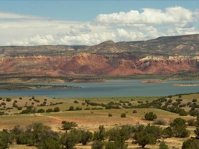 Abiquiu Lake, Red Cliffs of Ghost Ranch Beyond