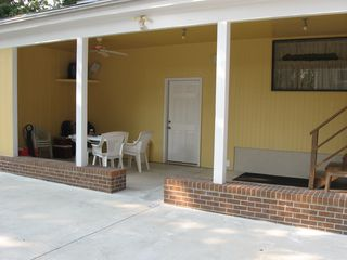 Private Homes cottage photo - Back patio picnic area with tv and stereo speakers