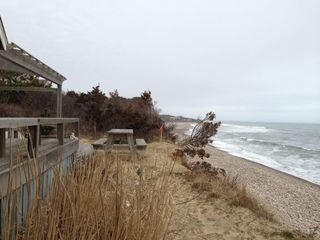 Chilmark cottage photo - Only 7 feet in front of the porch, this is a 15 foot cliff. Stairs down.