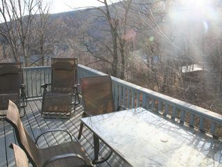 Warren condo photo - Large deck, view to Lincoln Peak slopes.