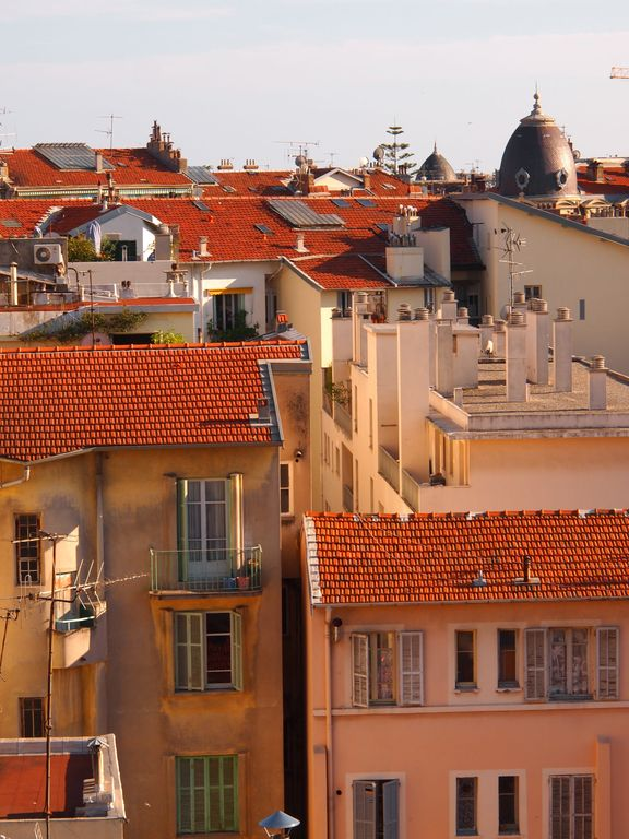 Roof tops glow in the mediterranean sun.