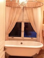 Oversized Bathtub and Shower w/ Chandelier - Rowayton house vacation rental photo
