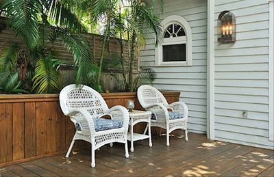 One of the sitting areas on the large back deck