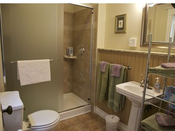Our newly remodeled bath with five foot shower.